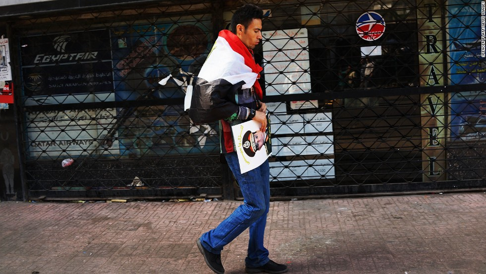 A man walks to Tahrir Square on July 4.