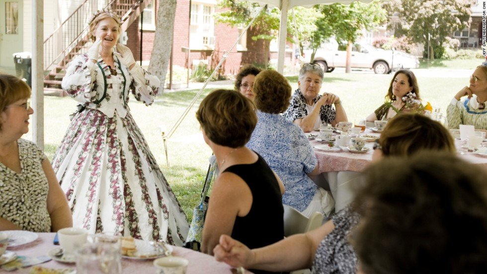 Mary Todd Lincoln, re-enacted by Judi Cox of Edison, New Jersey, tells the story of her life and marriage to Abraham Lincoln during a high tea lunch at the historic Rupp House on June 15, in downtown Gettysburg.