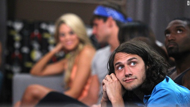 "Houseguest McCrae looks on during the July 3 live eviction show on CBS' ""Big Brother."""