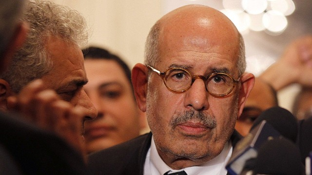 (FILES) - A file picture shows Egyptian opposition leader and Nobel Prize laureate Mohamed ElBaradei leaving at the end of a joint press conference on November 22, 2012, in Cairo. Opposition leader Mohamed ElBaradei and the heads of the Coptic Church and Al-Azhar -- Sunni Islam's highest seat of learning -- will on July 4, 2013 unveil an army roadmap for Egypt's future after President Mohamed Morsi, state television said. Mohamed Morsi, who was ousted by the army on Wednesday after a week of bloodshed and massive protests, insisted he remained Egypt's president in an amateur video recording posted on the Internet. AFP PHOTO / STRINGERSTRINGER/AFP/Getty Images