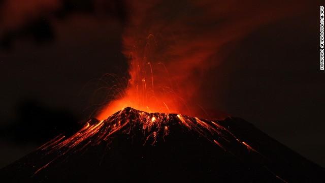 Popocatepetl volcano, seen from Xalitzintla village, Mexico, was active on Thursday.