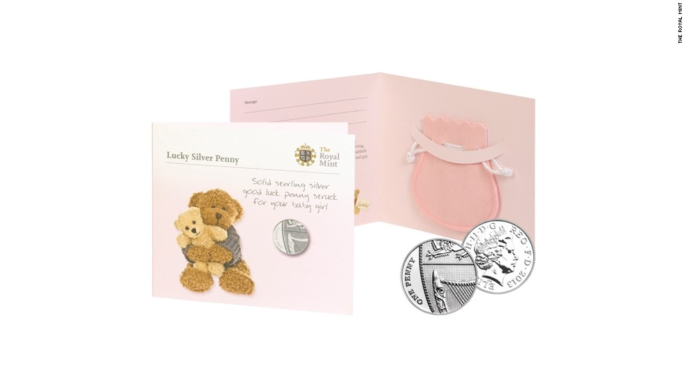 The silver penny will be dated 2013 and come in a pink pouch for a girl...