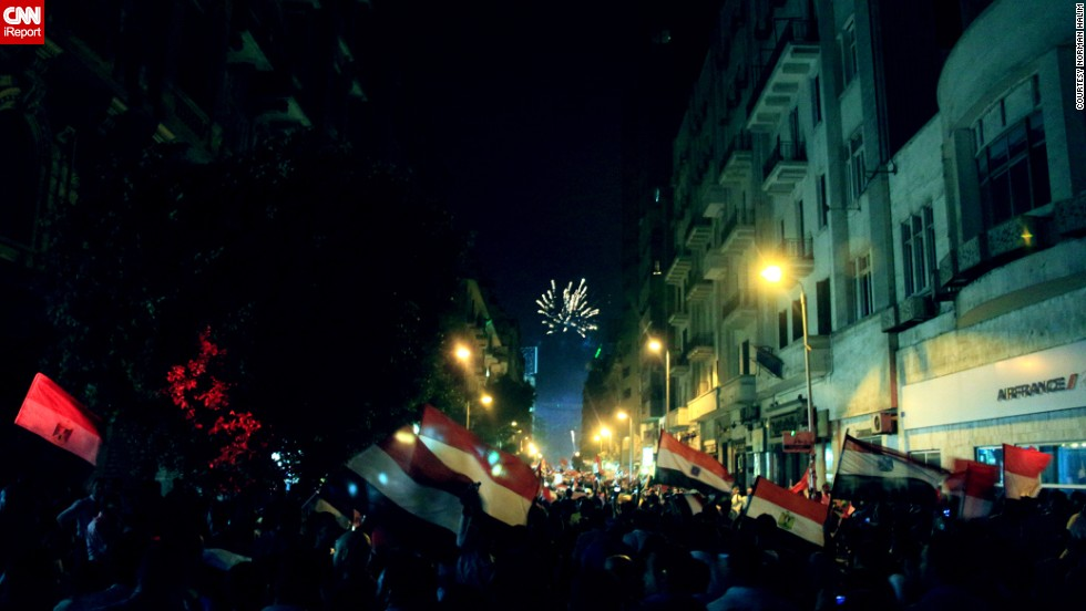 "Fireworks and flags filled the sky as anti-Morsy protesters celebrated the toppling of Morsy in this image taken July 3 by <a href=""http://ireport.cnn.com/docs/DOC-999917"">Norman Halim</a>, who said he was concerned about what could happen next."