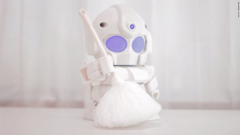 Forget the cleaning - for tiny surfaces, at least. Armed with a minute broom, Rapiro can double as a robotic maid.