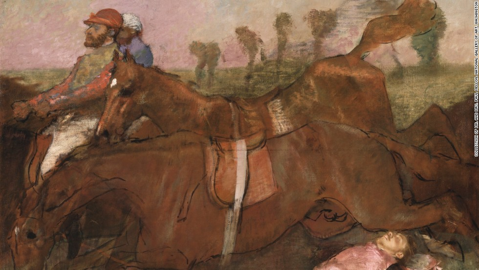 During the 1860s horse racing became a major sporting spectacle in Paris after the Longchamp course was opened in 1857. Horses, jockeys, races and fans were all reflected in Degas' work.