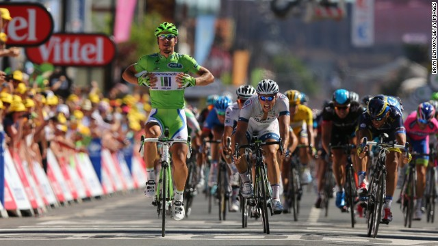 Peter Sagan has time to sit up as he takes the seventh stage of the Tour de France in Albi.