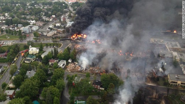See massive fire after train derailment