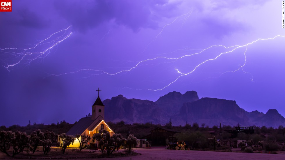 "Storm chaser <a href=""http://ireport.cnn.com/docs/DOC-1001516"">Stacy LeClair</a> got this shot during a severe storm that swept through Apache Junction, Arizona, on July 7. ""The Superstition Mountains are a favorite landmark in Arizona, and the church offered a unique background for showing how powerful nature can be,"" she said."