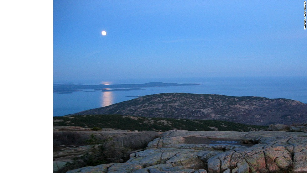 Cadillac Mountain, also the tallest peak on the Atlantic coast at 1,530 feet, is a great place to watch the moon rise.