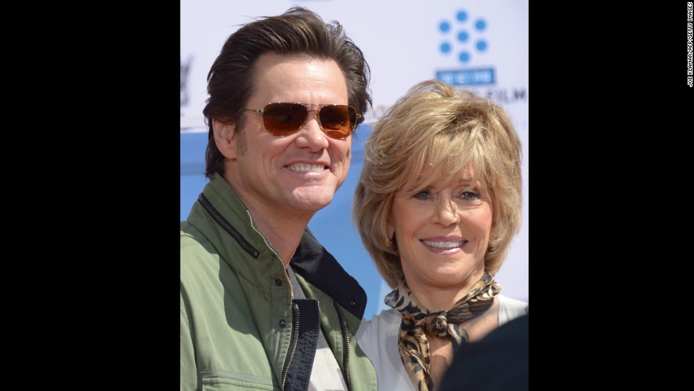 Carrey attends actress Jane Fonda's handprint ceremony at the TCL Chinese Theatre on April 27 in Los Angeles, California.