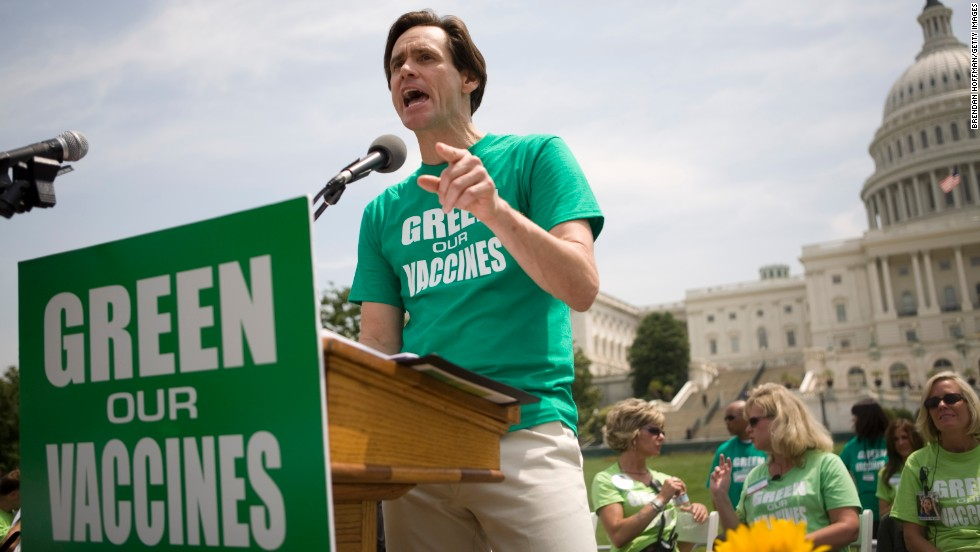 Carrey speaks at a rally calling for healthier vaccines in Washington in 2008. Carrey joined then-girlfriend Jenny McCarthy in a public campaign for autism awareness after McCarthy's young son was diagnosed with autism.