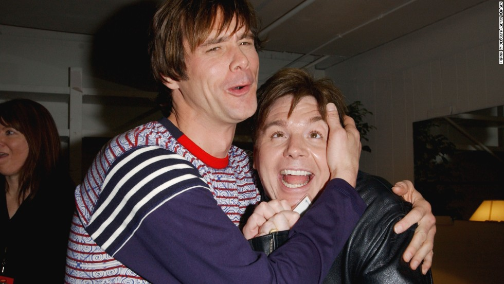 Carrey and fellow comedian Mike Myers clown backstage during Nickelodeon's 16th Annual Kids' Choice Awards in 2003 in Santa Monica, California.