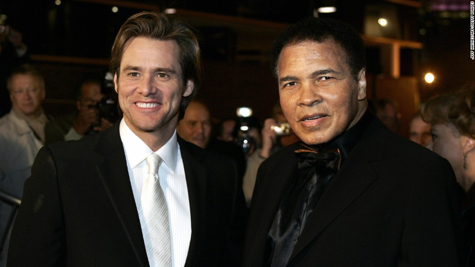 Carrey with boxing legend Muhammad Ali before the Grand Opening Gala for the Muhammad Ali Center at the Kentucky Center in Louisville, Kentucky, in 2005.