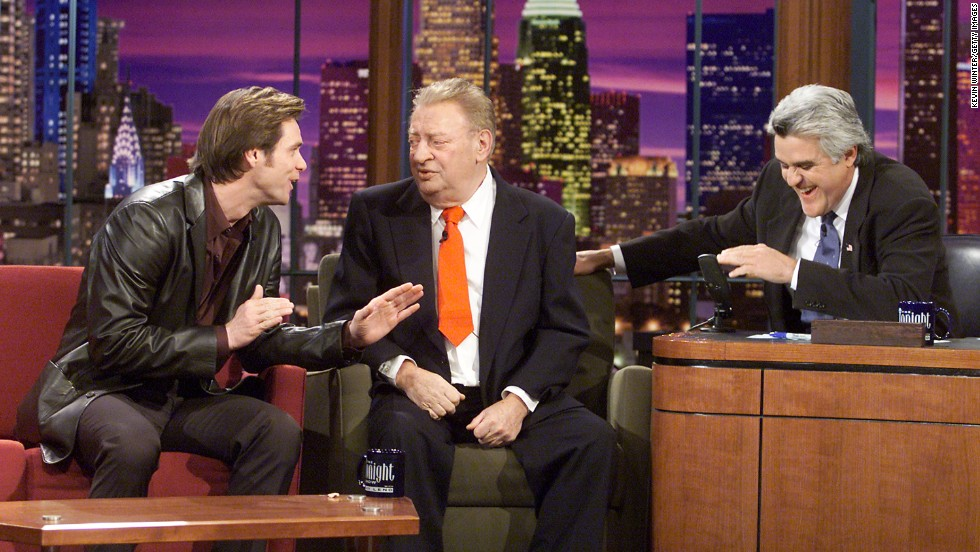 "Guests Carrey, left, joins Rodney Dangerfield on ""The Tonight Show with Jay Leno,"" on Dangerfield's 80th birthday in 2001."