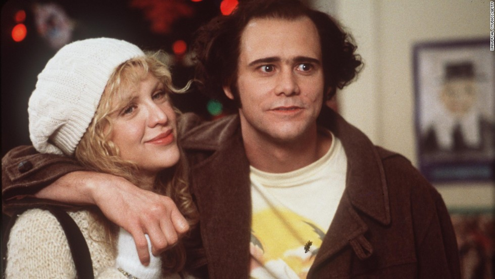 "Carrey plays the role of late comedian Andy Kaufman, alongside actress and musician Courtney Love, in the 1999 movie ""Man on the Moon."""