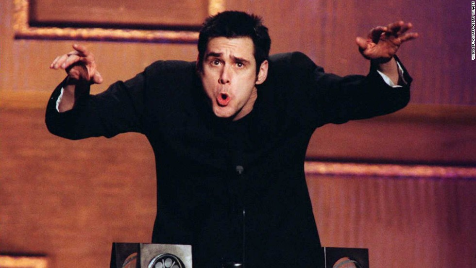 "Carrey accepts his awards during the Second Annual Blockbuster Awards after winning ""favorite actor in a comedy"" for ""Ace Ventura: When Nature Calls,"" as well as for his roles in ""Dumb and Dumber"" and ""The Mask."""