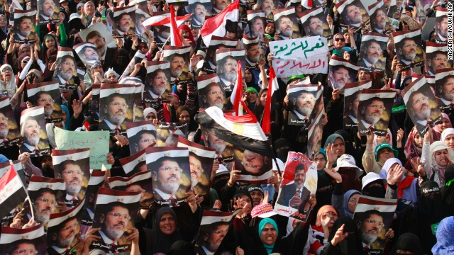 Supporters of the deposed president Mohamed Morsy rally in Nasr City, Egypt, a suburb of Cairo, on Monday, July 8.