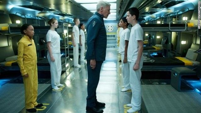 "Harrison Ford, Suraj Partha and Asa Butterfield in ""Ender's Game."""