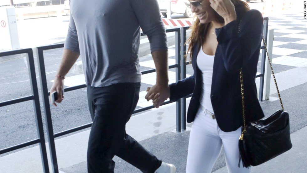 Eva Longoria and her new boyfriend, Ernesto Arguello, hit the airport in Paris on July 9.