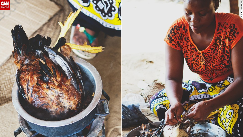 The women in the village then cleaned and gutted the bird in preparation for cooking.