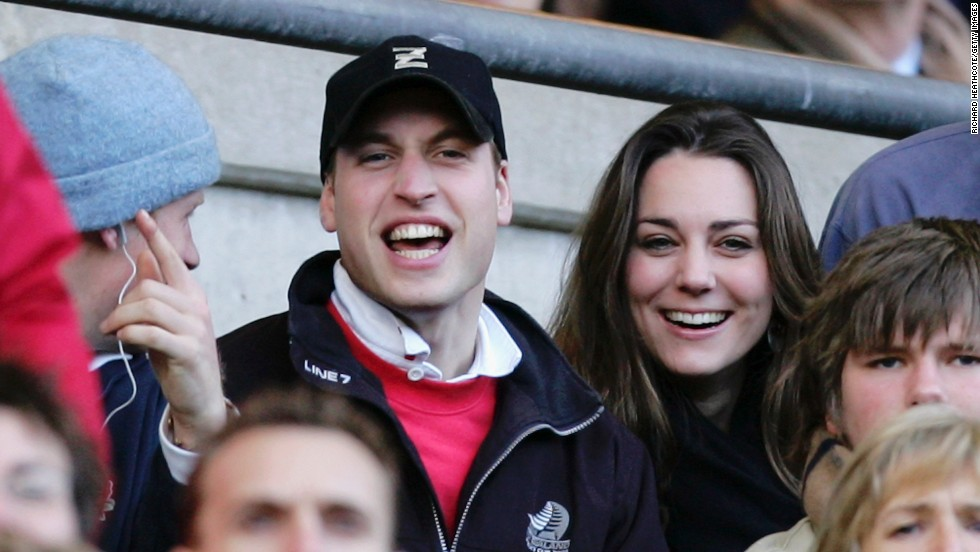 The couple cheers on the English rugby team during the Six Nations Championship match in London in February 2007.