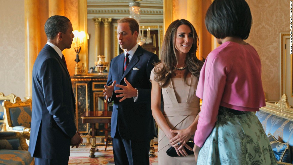 U.S. President Barack Obama and first lady Michelle Obama meet with the royal couple at Buckingham Palace in May 2011.
