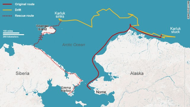 Map: The path of the Karluk