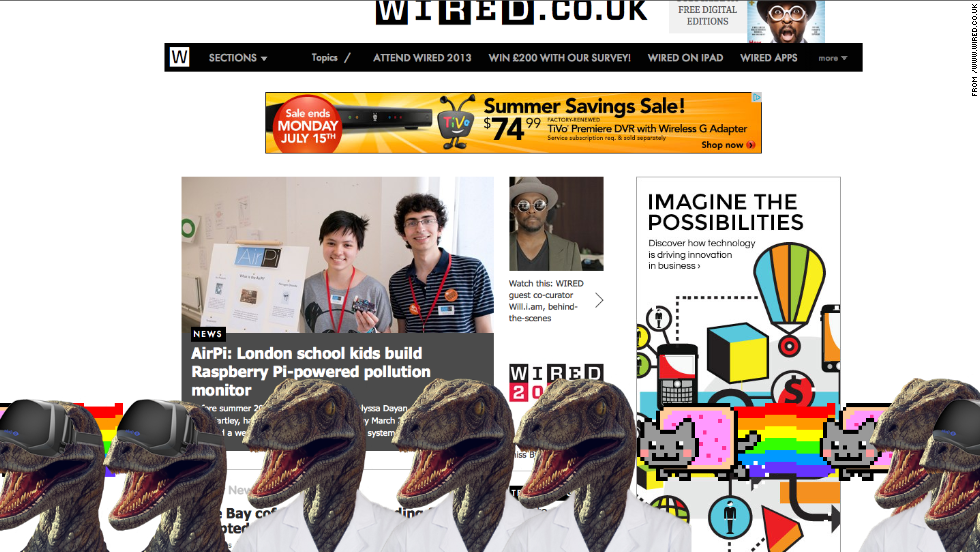 "The Nyan cat joins a white-coated dinosaur on the <a href=""http://www.wired.co.uk/"" target=""_blank"">Wired UK</a> site."