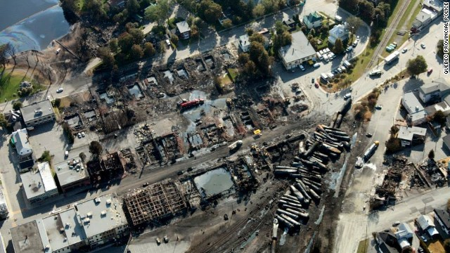 "Most of the 73-car train derailed in the center of Lac-Megantic early Saturday, and tank cars full of oil exploded and burned. Quebec provincial authorities have found 20 bodies, and 30 more are missing ""and most probably dead, "" Quebec Provincial Police Capt. Michel Forget said Wednesday."