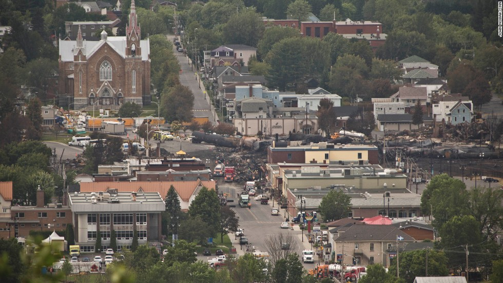 Most of the 73-car train derailed in the center of Lac-Megantic, setting off a huge fireball that burned for 36 hours.