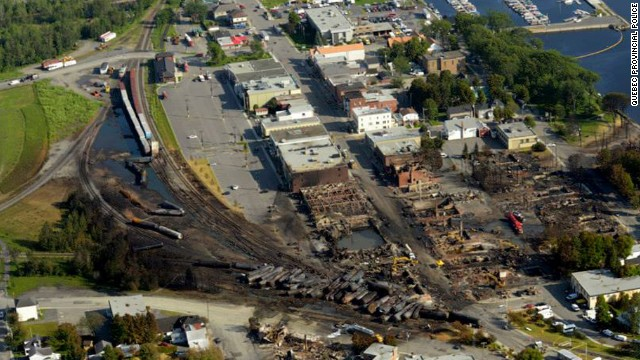 "Most of the 73-car train derailed in the center of Lac-Megantic early Saturday, and tank cars full of oil exploded and burned. Quebec provincial authorities have found 20 bodies, and 30 more are missing ""and most probably dead,"" Quebec Provincial Police Capt. Michel Forget said Wednesday."