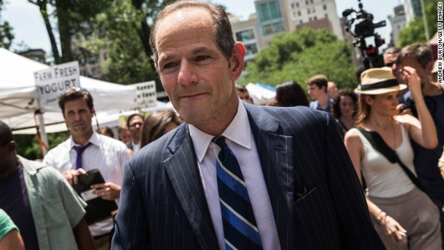 Former New York Gov. Eliot Spitzer collects signatures from citizens to run for comptroller of New York City on July 8, 2013 in New York City. Spitzer resigned as governor in 2008 after it was discovered that he was using a high end call girl service.
