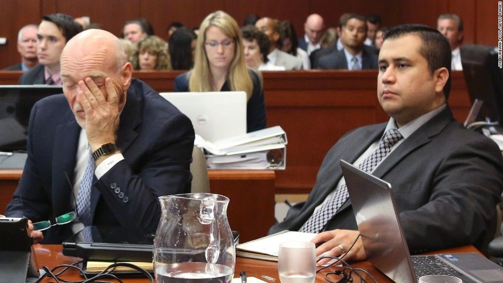 Zimmerman, right, sits with another defense attorney, Don West, this week. West objected to a third-degree murder charge also sought by prosecutors on Thursday, July 11, the day closing arguments began. The judge ruled out that charge but said the jury could consider convicting the defendant of manslaughter.