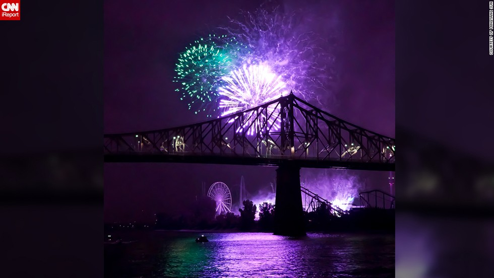 "Every year Montreal celebrates summer with a series of magnificent fireworks displays by countries from all over the globe. For Mingyang Sun, the 29-year-old molecular biologist who took this photo of Pont Jacque-Cartier in <a href=""http://ireport.cnn.com/docs/DOC-996317"">Old Port Montreal</a>, the fireworks act as a reward to the people of the city who have been anticipating summer after the long winter. ""The firework decorating the night sky of this romantic city is one of the most celebrated events of the locals,"" he says."