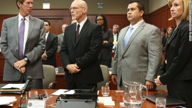 SANFORD, FL - JULY 11:  George Zimmerman stands with his defense team Mark O'Mara, (L), Don West, (Center L), and Lorna Truett during his trial in Seminole circuit court July 10, 2013 in Sanford, Florida. Judge Debra Nelson has ruled that the jury can also consider a manslaughter charge along with the second-degree murder charge in the shooting death of Trayvon Martin. (Photo by Gary W. Green-Pool/Getty Images)