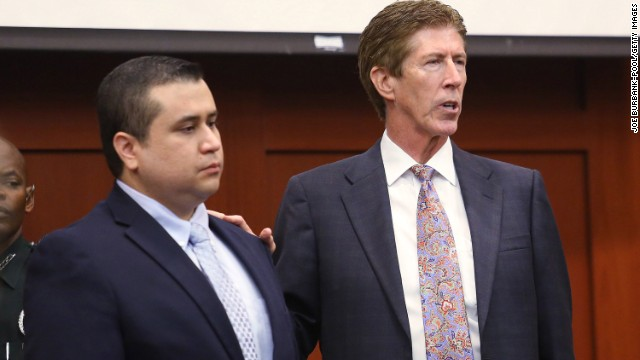 SANFORD, FL - JULY 12:  Defendant Defense attorney Mark O'Mara (R) has George Zimmerman stand in the courtroom for the jury during closing arguments for the defence in Zimmerman's murder trial July 12, 2013 in Sanford, Florida. Judge Debra Nelson has ruled that the jury can also consider a lesser manslaughter charge along with the second-degree murder charge in the shooting death of Trayvon Martin. (Photo by Joe Burbank-Pool/Getty Images)