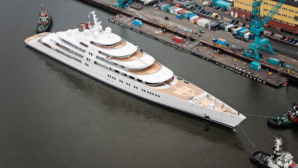 The motor-powered Azzam was launched in 2013 and is the largest yacht in the world. Stretching fully 180 meters, it is reportedly owned by the Emir of Abu Dhabi.