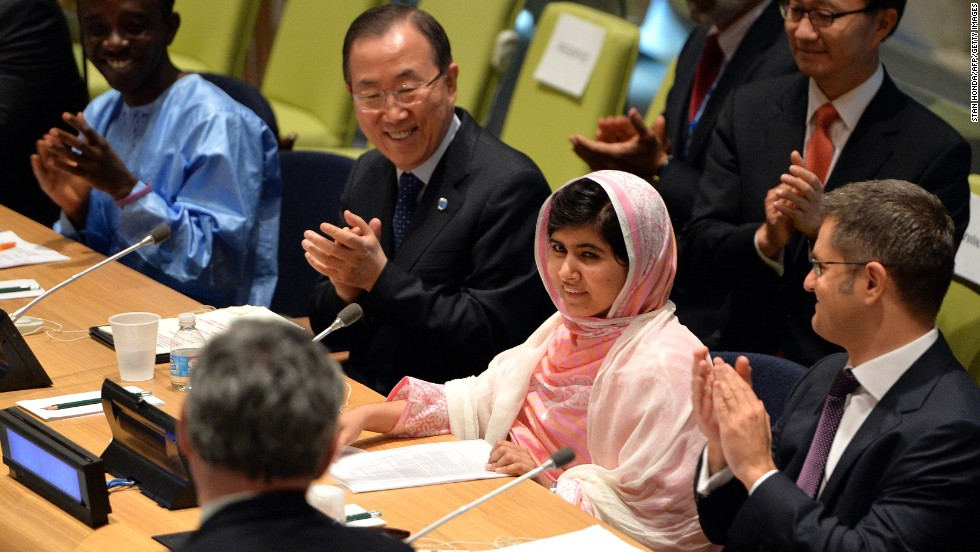 """JULY 12 - NEW YORK, U.S.: <a href=""""http://cnn.com/2013/07/12/world/united-nations-malala/index.html?hpt=hp_c1"""">Pakistani teenager Malala Yousafzai</a>, who was nearly killed by Taliban gunmen for advocating that all girls should have the right to go to school, gave her first formal public remarks at the United Nations on July 12. The U.N. has declared the date as """"Malala Day"""", which will continue to host the U.N. Youth Assembly."""