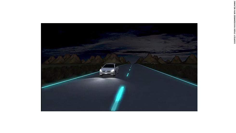 Experienced Dutch innovator Daan Roosegaarde, who acted as a mentor for Shah on CNN's fortnightly tech show Blueprint, has also invented a street lighting system. 'Glow-in-the-dark roads' are painted with strips that contain foto-luminising powder that only light up when necessary. Charged by daylight, the strips illuminate the contours of the road at night for up to 10 hours.