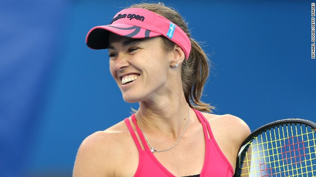 Martina Hingis in action in a legends match at the Australian Open earlier this year.