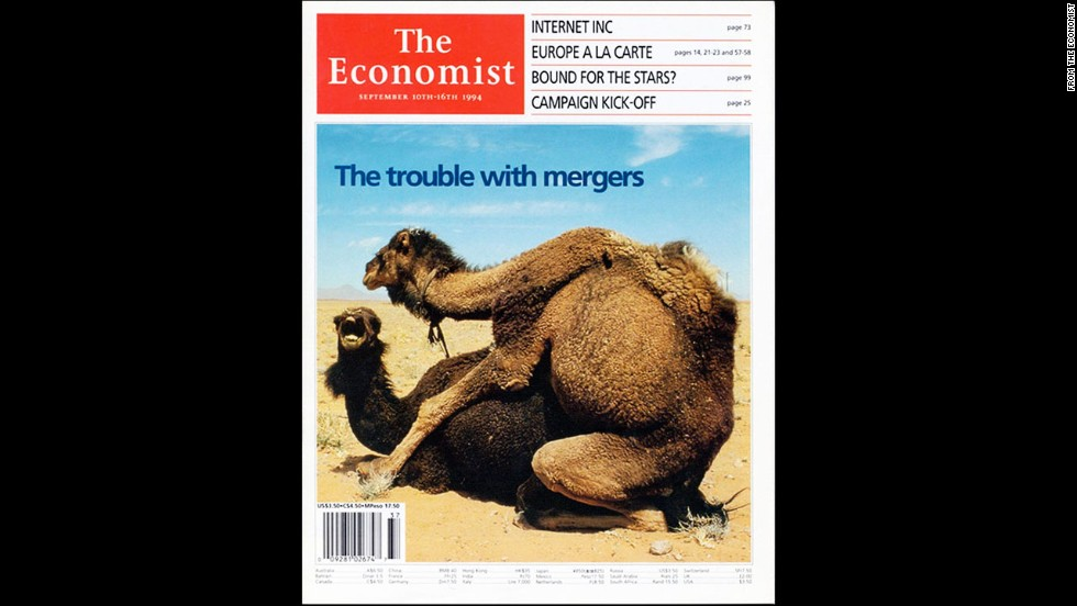 "The Economist's September 10, 1994, North American cover, which dealt with a surge in corporate mergers, raised eyebrows. ""Camels do it, birds and bees do it, even companies do it: all over America, firms are falling in love and settling down together,"" Deputy Editor Emma Duncan wrote in an article about Economist covers that made news in and of themselves."