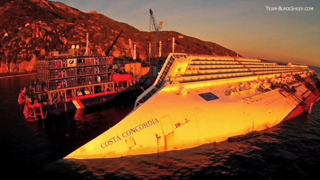 Incredible drone video of Costa Concordia