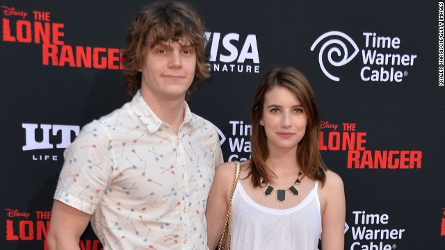 Emma Roberts and Evan Peters at the premiere of 'The Lone Ranger' at Disney California Adventure Park on June 22, 2013 in Anaheim, California.