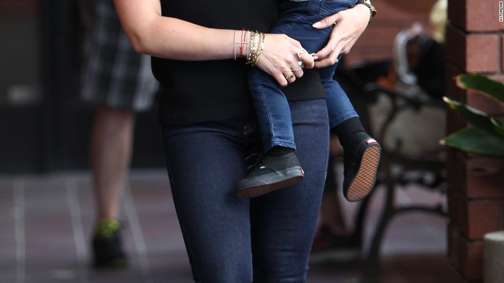 Hilary Duff and her son Luca are all smiles in Studio City, California on July 17.