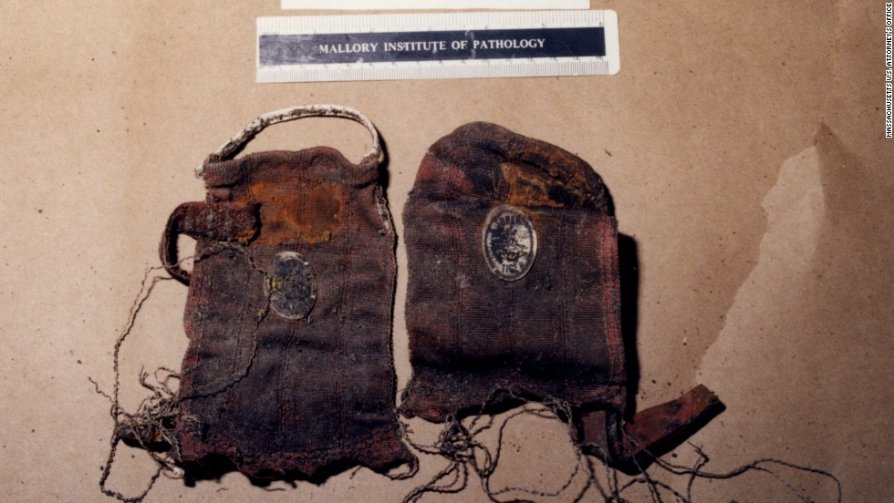 The remains of Thomas King, former member of the Winter Hill Gang, were found in late 2000 and included these driving gloves, a bulletproof vest, a navy suit, and a claddagh ring. Martorano, one of Bulger's hitmen, testified that he himself had shot King in the back of the head.