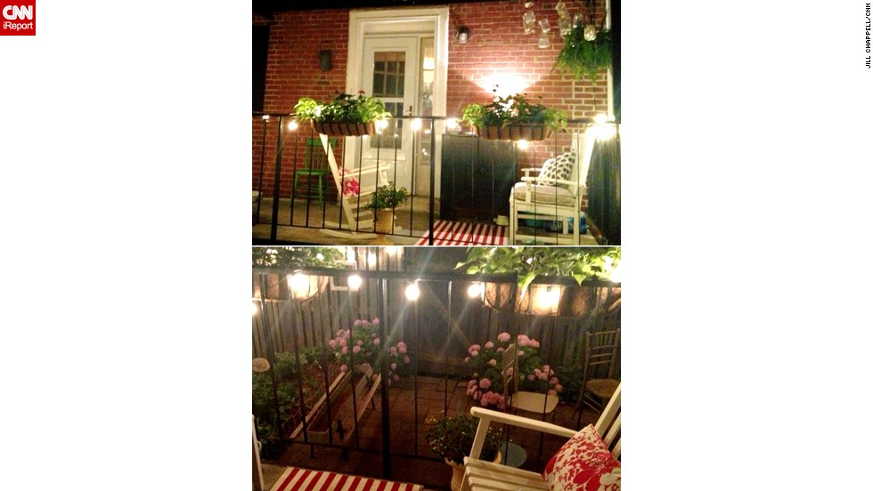 "<a href=""http://ireport.cnn.com/docs/DOC-1003447"">Jill Chappell</a> made the most of her tiny backyard and deck with white string lights, rugs and lots of plants."