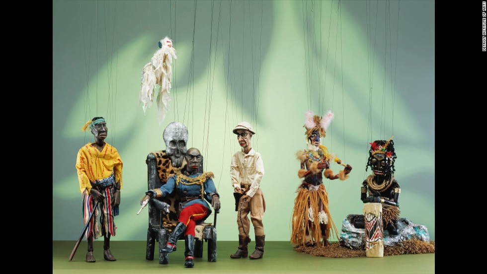 The collection includes a wide variety of puppets, including: folk art, vaudeville, avant-garde, experimental, film and television puppets. This Emperor Jones puppet, shown with his fellow cast members, was created by Ralph Chesse and was purchased by the museum's Founders Society.