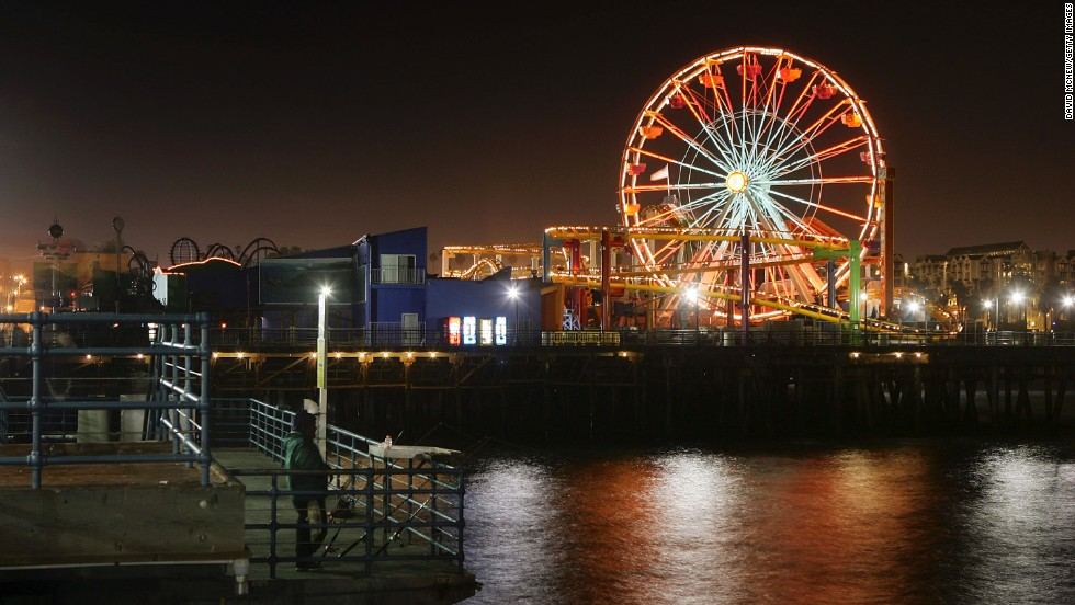 The Santa Monica Pier Ferris wheel is the first solar powered Ferris wheel in the world. With 160,000 energy efficient lights, nighttime rides feature lights illuminating the western end of Route 66.