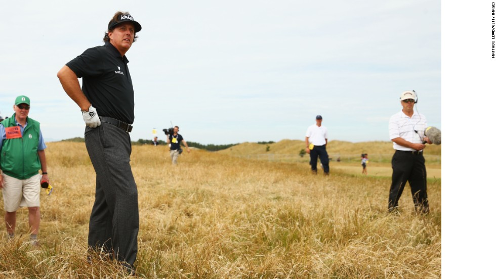 Phil Mickelson was one of a number of golfers who complained the Muirfield course was dry, fast and firm, especially around the pins.