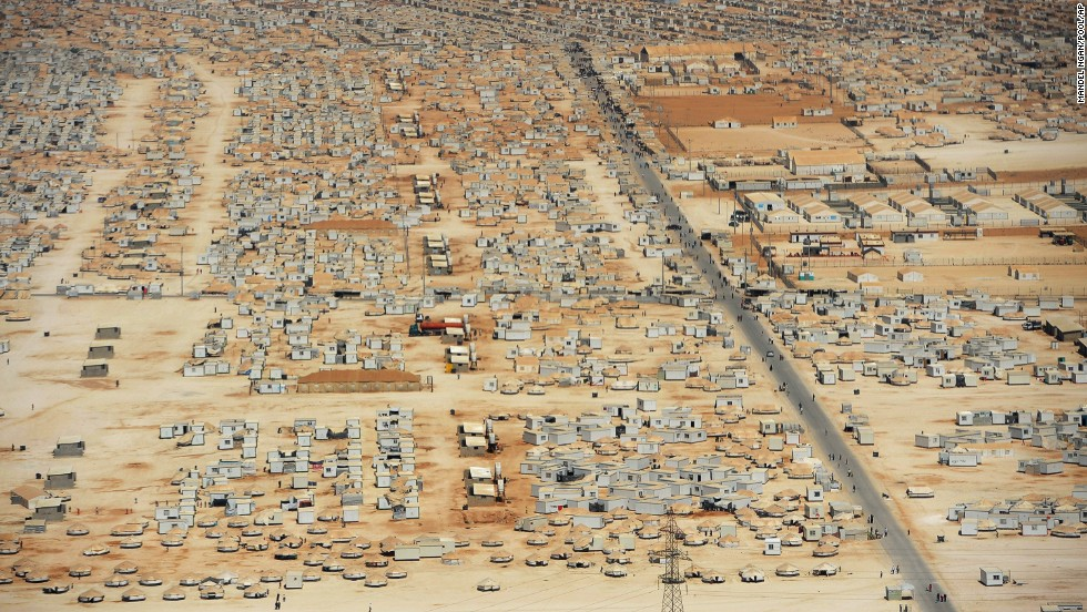 The expanse of the Zaatari refugee camp in Jordan, as seen from an aerial view in July 2013. The camp was opened on July 28, 2012.